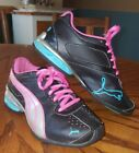 Girls Kids Youth Puma Athletic Lace Tennis Shoes Black Pink Silver Blue Size 1