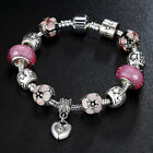 925 Silver Plated Pink MURANO GLASS BEAD LAMPWORK Love European Charm Bracelet