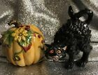 Fitz and Floyd 2003 Halloween Harvest Arched Scared Cat and Pumpkin Salt Pepper