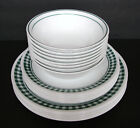 Lot of 24 Corning Corelle Dishes - White & Green Gingham Check Plaid