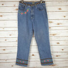 Vtg 90s Embroidered Jeans Sz 12 High Waisted Boho Hippie Grunge 31x30 Mom Floral