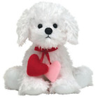 Loveypup white dog w/dangling hearts