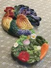 Fitz and Floyd Rooster Coq Du Village Spoon Rest / Wall Art Fall Harvest Classic