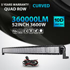 Quad Row 52inch 3600W Curved LED Light Bar Offroad fit for Jeep Truck ATV 50 54