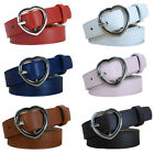 Women Ladies Vintage Metal Heart Buckle Skinny Faux Leather Belt Jeans Waistband
