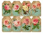 8 Vintage Shabby Chic Pink Rose Hang Tags Scrapbooking Paper Crafts 197