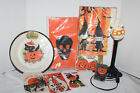 Lot of VINTAGE Halloween PLATES Pin TREAT BAGS Invites TABLE CLOTH Ghost Light