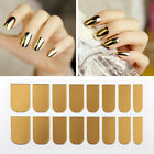Gold Silver Mirror Effect Chrome Nail Stickers Decals No Polish Foil Nails
