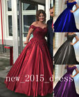 Off Shoulder Wedding Dreses Applique Beaded Formal Prom Evening Gown Size2 4 6++
