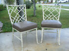 Vintage Pair Of Phyllis Morris Chippendale Faux Bamboo Metal Side Chairs