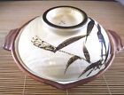 VINTAGE JAPANESE EARTHENWARE DONABE WITH SPOUT HANDLES LID BAMBOO THEME MARKED