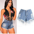 Vintage Womens Ripped High Waisted Stonewash Denim Shorts Casual Jeans Hot Pants