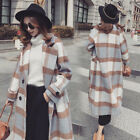 British Retro Women's Lattice Long Loose Wool Trench Coat Thick Double Breasted