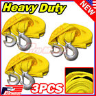 3 x 10FT 2 X 10 Yellow Rope Heavy Duty Tow Strap with Hook 6600 Lb Capacity
