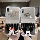 Mirror Cute Mickey Minnie Mouse Case For iPhone X 8 7 Plus S8 Ring Holder Cover