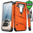 LG V30 Case Zizo Bolt w Clear Glass Screen Protector Kickstand and Holster