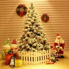 5 6FT Christmas Tree w Steel Base Decorate Ornament Xmas 450Tips Snow Flicked M8