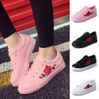 2017 Women Girl Leather Rose Flower Casual Lace Up Sneakers Trainer Shoes