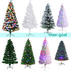 3 8ft Green White Snow Flocked Fiber Optic Artificial PVC Christmas Tree + Stand
