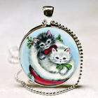 Vintage 1950s Christmas Kittens Cats NECKLACE Silver Charm Stocking Stuffer