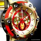 Invicta Marvel Iron Man Bolt 51mm Gold Plated Limited Ed Chronograph Watch New