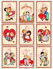 9 Vintage Valentine Retro Couples Hang Tags Scrapbooking Paper Crafts 177