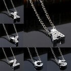 Initial Name Letter Necklace Silver Rhinestone Crystal Alphabet Letters Pendants