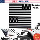 3d Metal American Flag Sticker Decal Emblem Auto Bike Truck Black Silver