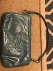 Teal Patent Leather Cosch Wristlet