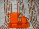VINTAGE HOMER LAUGHLIN  RIVIERA RED TALL JUG,COVERED SYRUP WITH LID AND TRAY