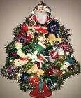 VINTAGE HANDMADE CHRISTMAS TREE WREATH FELT ORNAMENTS SHINY BRITE 1 OF A KIND