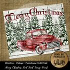 Farmhouse Vintage PRINT 8x10 Merry Christmas Red Truck Snow Forest Tree Shiplap