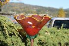 Antique Red Hand Blown Glass Flower with Dot Design