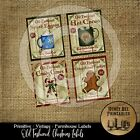 Prim Labels 3 x 3.75 17126 Old Fashioned Christmas Candy Cane Cocoa Gingerbread