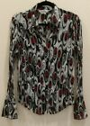 ALLISON TAYLOR Size Large Black Red White Long Sleeve Button Front Blouse