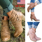US Womens Ankle Boots Hollow Out Round Toes Boots Block High Heels Shoes Boots