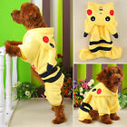 Pet Dog Cat Clothes Coat Apparel Puppy Soft Warm Jacket Hoodie Pikachu Costume
