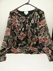 Ann Taylor Loft Very Pretty Black and Red Floral sz 8 Womens Blouse
