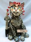 Dia,  Lovely Day of the Dead ceramic figurine WhimsiClay cat, helps animals too!
