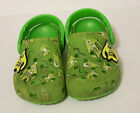 CROCS Kids CLASSIC CLOG Slip On GREEN  YELLOW PATTERN SANDALS Size 8 9