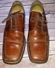 Stacy Adams Mens 12 Cognac Brown Leather Square Toe Lace Up Dress Career Shoes