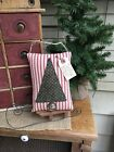 CHRISTMAS TREE Primitive Red Ticking Pillow Ornament Holiday Bowl Fillers