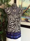 Chicos Travelers Tank Top Animal Print Scroll Tile Black White Blue Sz 2 NEW