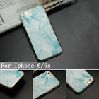 For Apple iPhone 4 Marble Stone Pattern TPU Blue and White Back Cover Case Skin