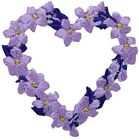 Heart of Flowers Applique Patch Purple and Violet Blooms Iron on