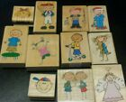 Rubber stamps lot cutest stick figures Christmas morning baseball fishing
