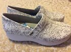 Softwalk Meredith Greys Anatomy Professional Clog White Floral Leather Size 12