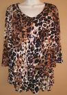 SUSAN GRAVER BROWN ANIMAL PRINT 3 TIERED 3 4 SLEEVE BLOUSE SIZE SMALL