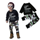 2PCS Toddler Kids Baby Boy T shirt Tops+Camouflage Pants Trousers Outfit Clothes