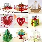 3D Pop Up Greeting Card Handmade Birthday Valentine Christmas Wedding Invitation